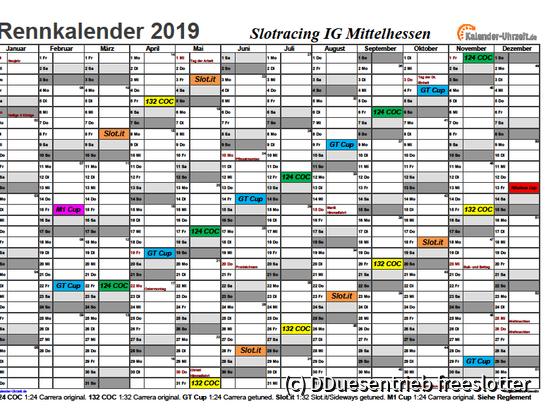 Rennkalender 2019 mit Legende (Rennserien) 2019-04-20