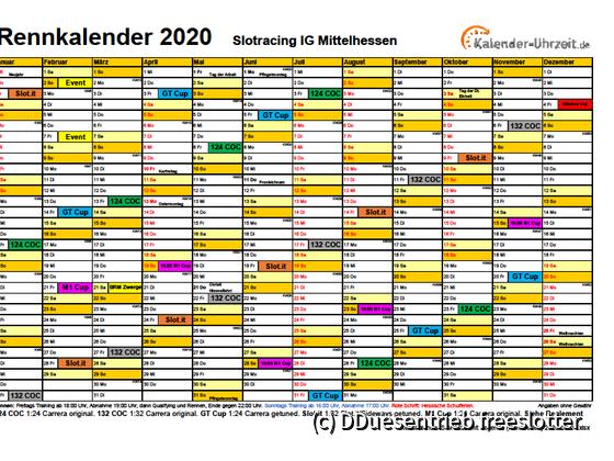 Rennkalender SIM 2020 mit Legende (Rennserien) 2020-02-24