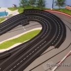 Legeprobe Kurve vor Start-Ziel für optionalen Umbau auf 8 Fahrerplätze