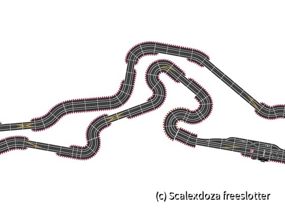 Nurburgring GP with the GT chicane. Built in Autorennbahn planner. Approx. 9.5m x 3m